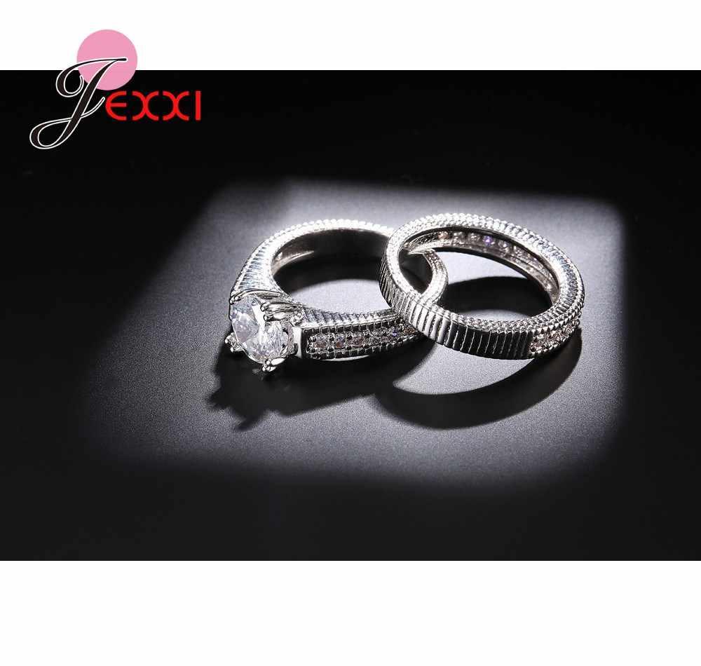 Anéis de noivado elegantes do casamento conjunto 2 pces 925 prata esterlina acessórios do aniversário com pedra brilhante completa do zircão de cubiz