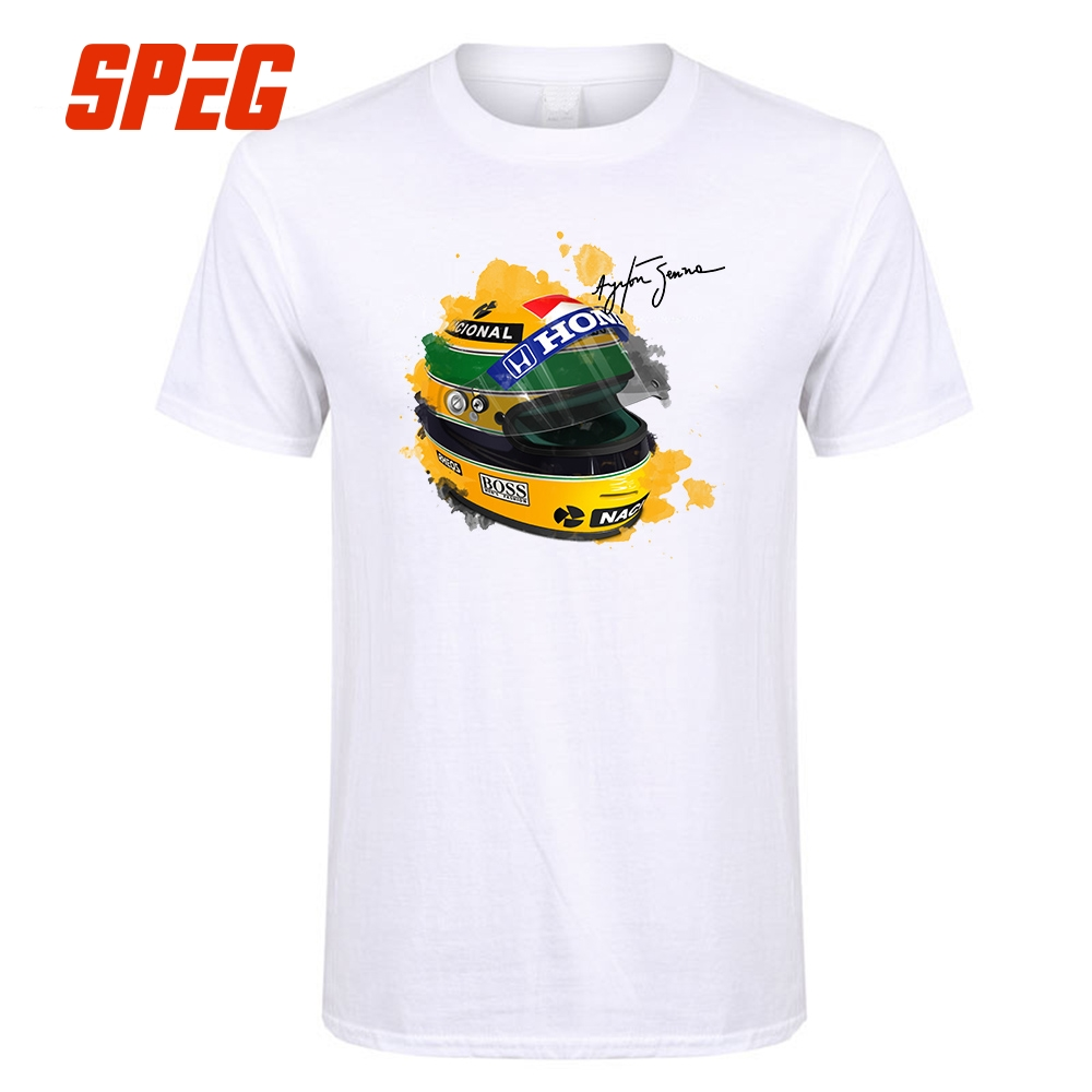 Ayrton Senna Helmet T-Shirt  Tops 1 Race Car  Watercolor Men 100% Cotton Short Sleeve Tee Shirt Signature Man T Shirt
