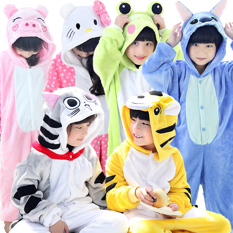 Flannel Kids Pajamas Animal Onesie Boys Girls Sleepwear Stich Pikachu Panda Unicorn Halloween Christmas Children Kigurumi