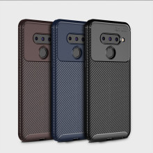 For LG G8 ThinQ case conque TPU mobile phone soft carbon fundas fiber protective back cover on for V50