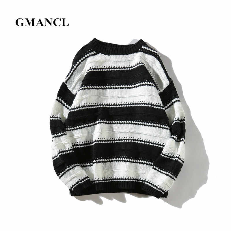 GMANCL stripe Fight color Mens autumn Sweater 2017 new Vintage oversized  high quality Casual men Pullovers 551540467