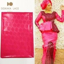 5 ساحات روز الأحمر السنغال غينيا بازان الثراء الأقمشة الجاكار للنساء أو الرجال الملابس الخياطة المواد حوض الزفاف الدانتيل النسيج