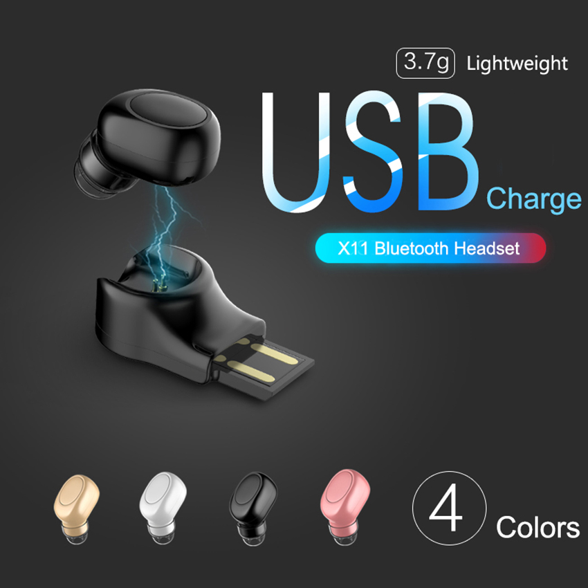 X11 Mini Bluetooth Wireless Earphone Invisible Earbud In Ear Handsfree Headsets Magnetic USB Charger Earpiece with MIC for Phone