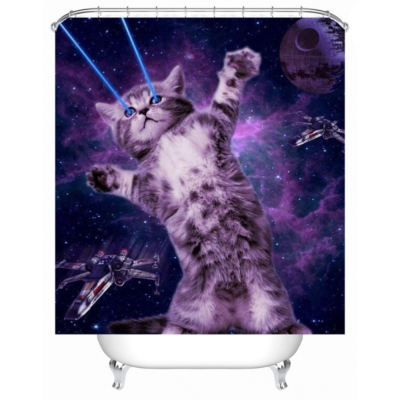 Cat Shower Curtain Funny Printed Waterproof Polyester Bath Bathroom Accessories 180x180cm Curtains Home Decoration In From