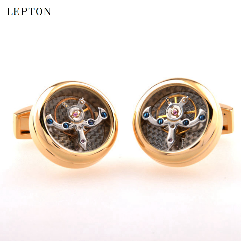 Image 2 - Hot Sale Movement Tourbillon Cufflinks For Mens Lepton High quality Mechanical Watch Steampunk Gear Cuff links Relojes Gemelos-in Tie Clips & Cufflinks from Jewelry & Accessories