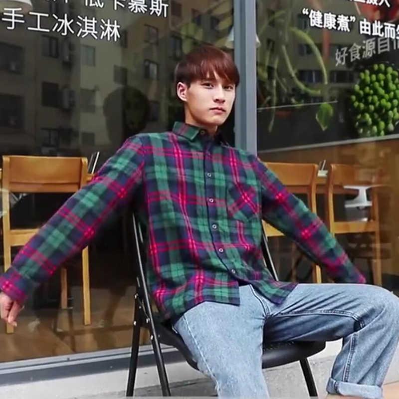 メンズチェック柄長袖カジュアルシャツターンダウン襟シングルブレストシャツ 2019 秋のファッション男性ストリートトップ服