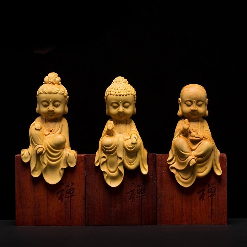 Wooden Buddha statues Three Western Gods Boxwood Wood buda statue carving Solid wood Sakyamuni for home