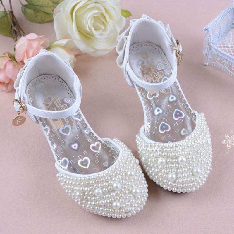 d9edb33640fb9 Hot 2018 Summer Wedding Flower Girls High Heeled Princess Pearl ...