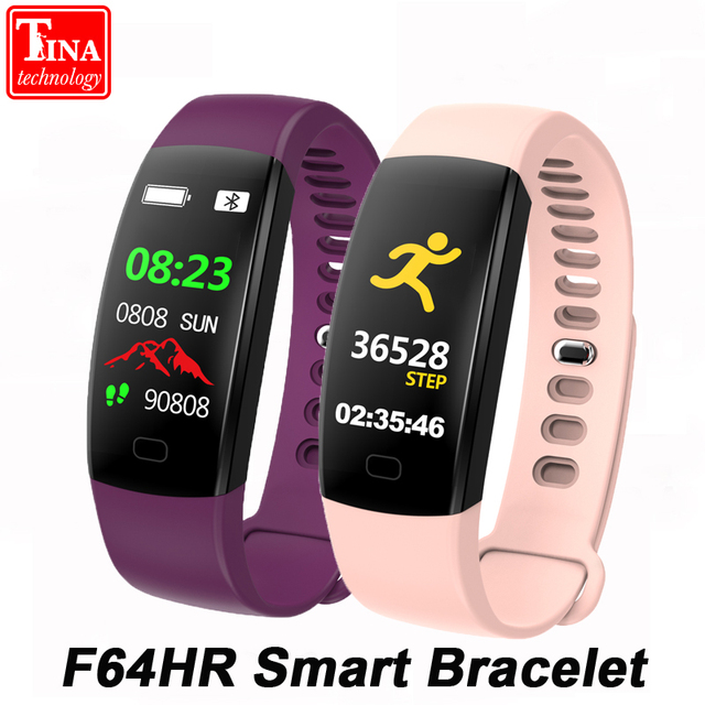 Original Color Screen F64HR Smart Bracelet Men IP68 Waterproof Blood Pressure Heart Rate Monitor Wristband for Android IOS Phone