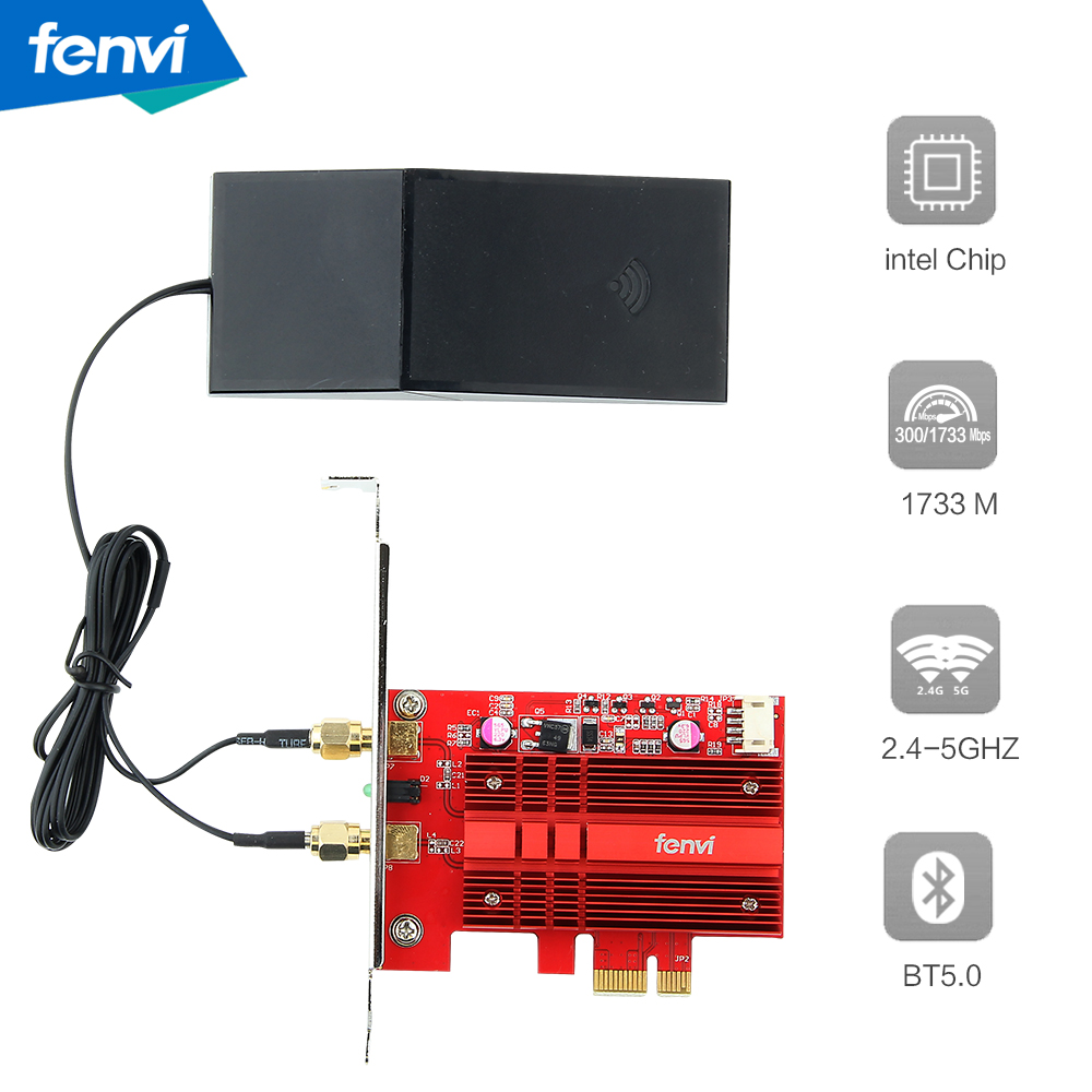 Dual Band AC2030 Wireless ac 9260 PCIE WiFi BT 5.0 MU MIMO 802.11ac 2.4G:300M / 5Ghz:1730Mbp Desktop WiFi Adapter for Windows 10-in Network Cards from Computer & Office
