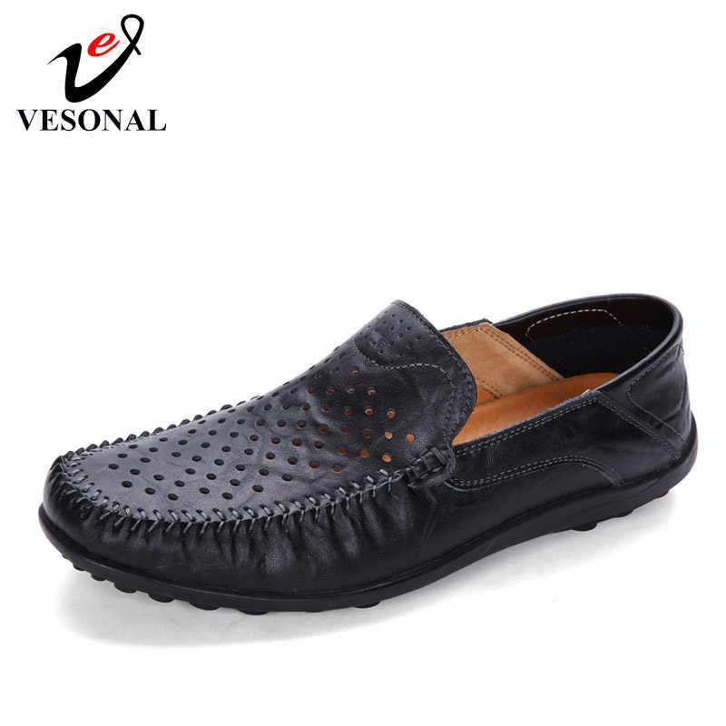 VESONAL yaz hakiki deri yumuşak delik nefes erkek ayakkabısı loafer'lar erkek Moccasins Flats rahat tekne sürücü ayakkabı sürüş
