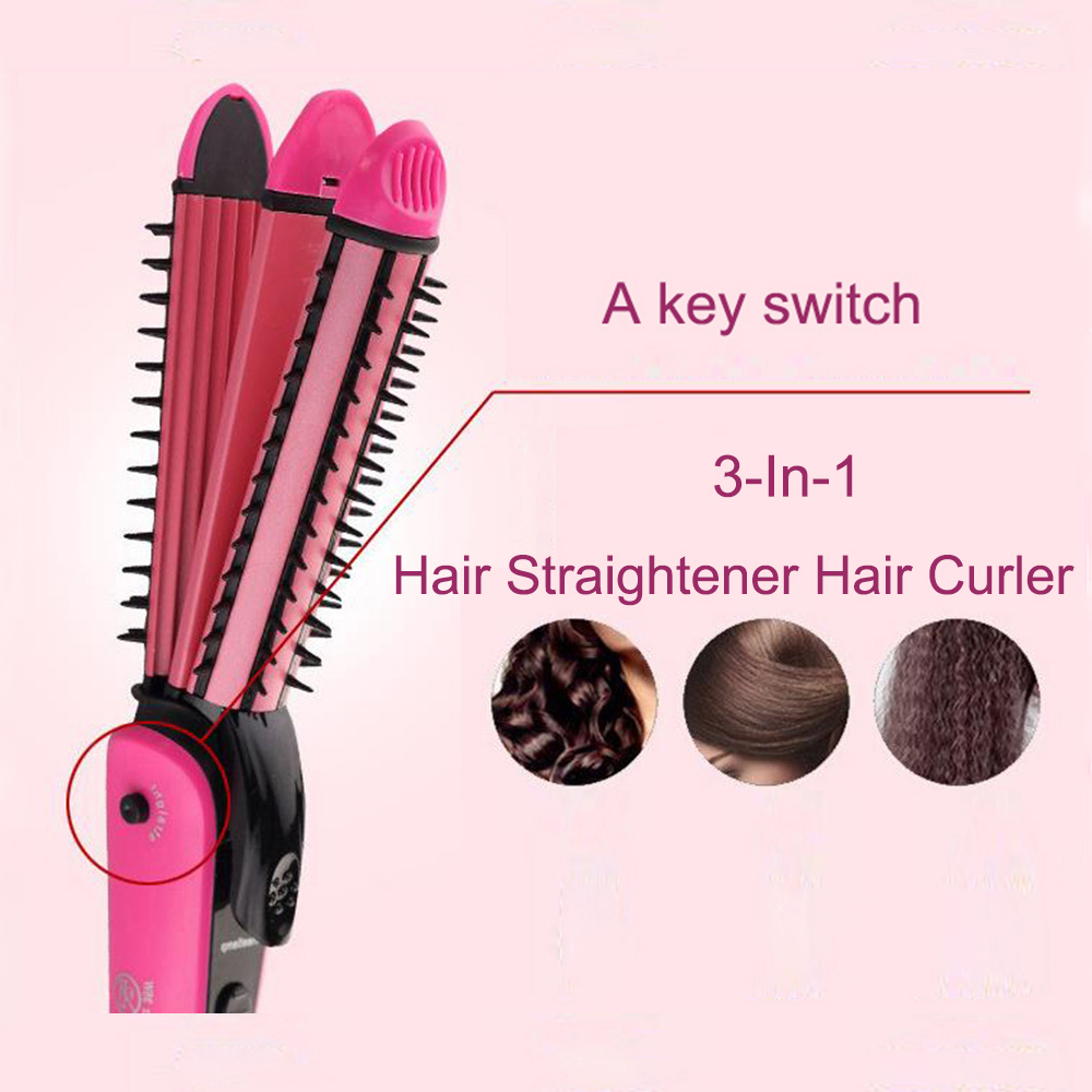 3 in 1 Hair Straightener Hair Curler Tourmaline Ceramic Straightening Curling iron Hair Styling Tools 110-240V 3 in 1 multifunction hair straightener hair curler corn plate curler ceramic coating foldable hair curling iron hair styler p00