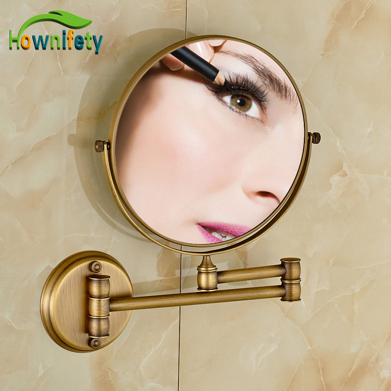 Antique Brass Bathroom 8 Inch Cosmetic Mirror Dual Arm Extend 3 x Magnifying Make Up Mirror Wall Mount natura siberica лифтинг крем для кожи вокруг глаз орлиный взгляд объем 30 мл