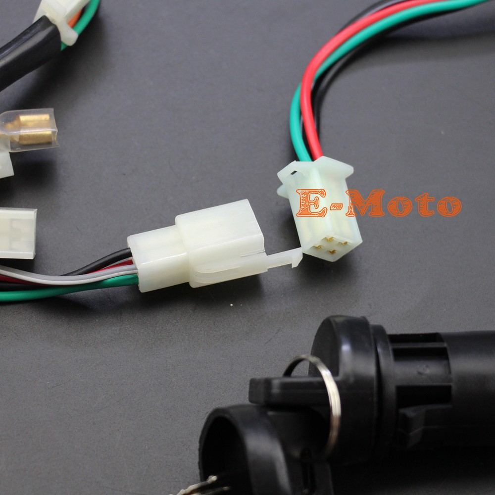 Full Wiring Harness Loom Ignition Coil Cdi D8ea For 150cc 200cc China Made Atv Automatic Semi Auto 300cc Chinese Quad Bikes Buggy Such As Atomik Foxico Motowork Tdr Ect
