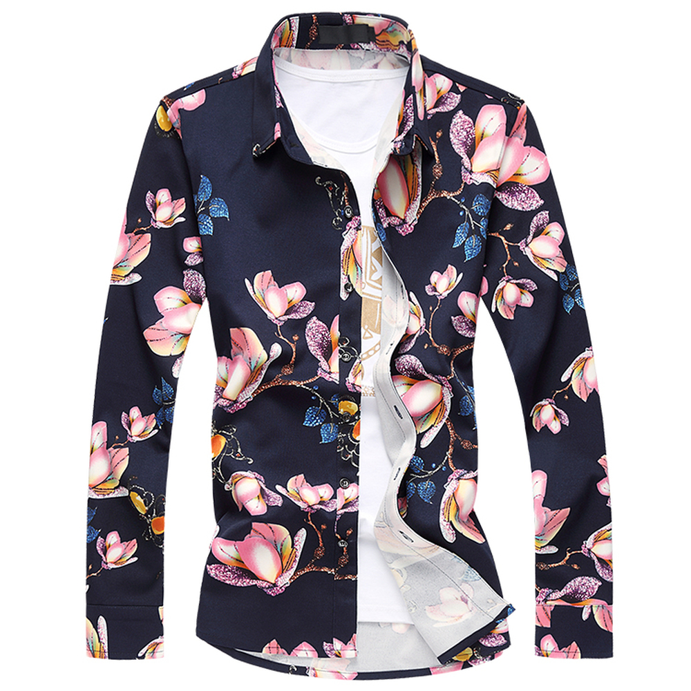 2018 Spring Autumn Male Shirts New Fashion Mens Shirts Long Sleeve Floral Slim Fit Flower Printed Shirt Plus Size L 5XL 6XL 7XL in Casual Shirts from Men 39 s Clothing