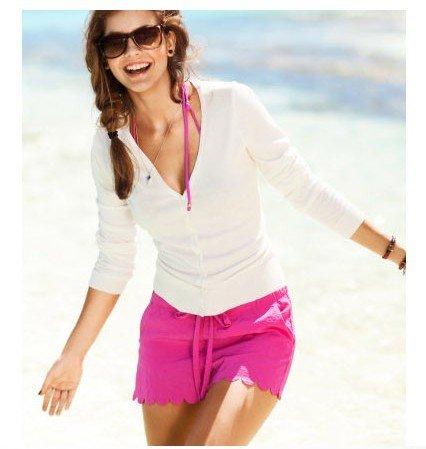 2012 Summer Hot Pants Popsicle Color Wave Hem Drwastring Elastic ...