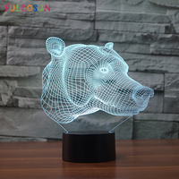 3D Dog Night Lamp Colorful Nightlight Led Touch Table Lamp 3D Optical Lights for Novelty Gift