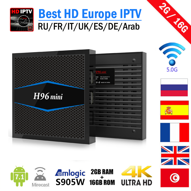 IPTV Box H96 mini Arabic French Smart Android TV Box H.265 Channels 6 Months/1 Year Subscription Europe French Arabic IP TV Box italy iptv french iptv box xnano x5 android 6 0 tv box hd smart tv box 1 year europe server 3500 channels
