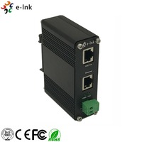 Industrial Din Rail 10/100/1000Mbps PoE+ Injector with 12~48V DC Input