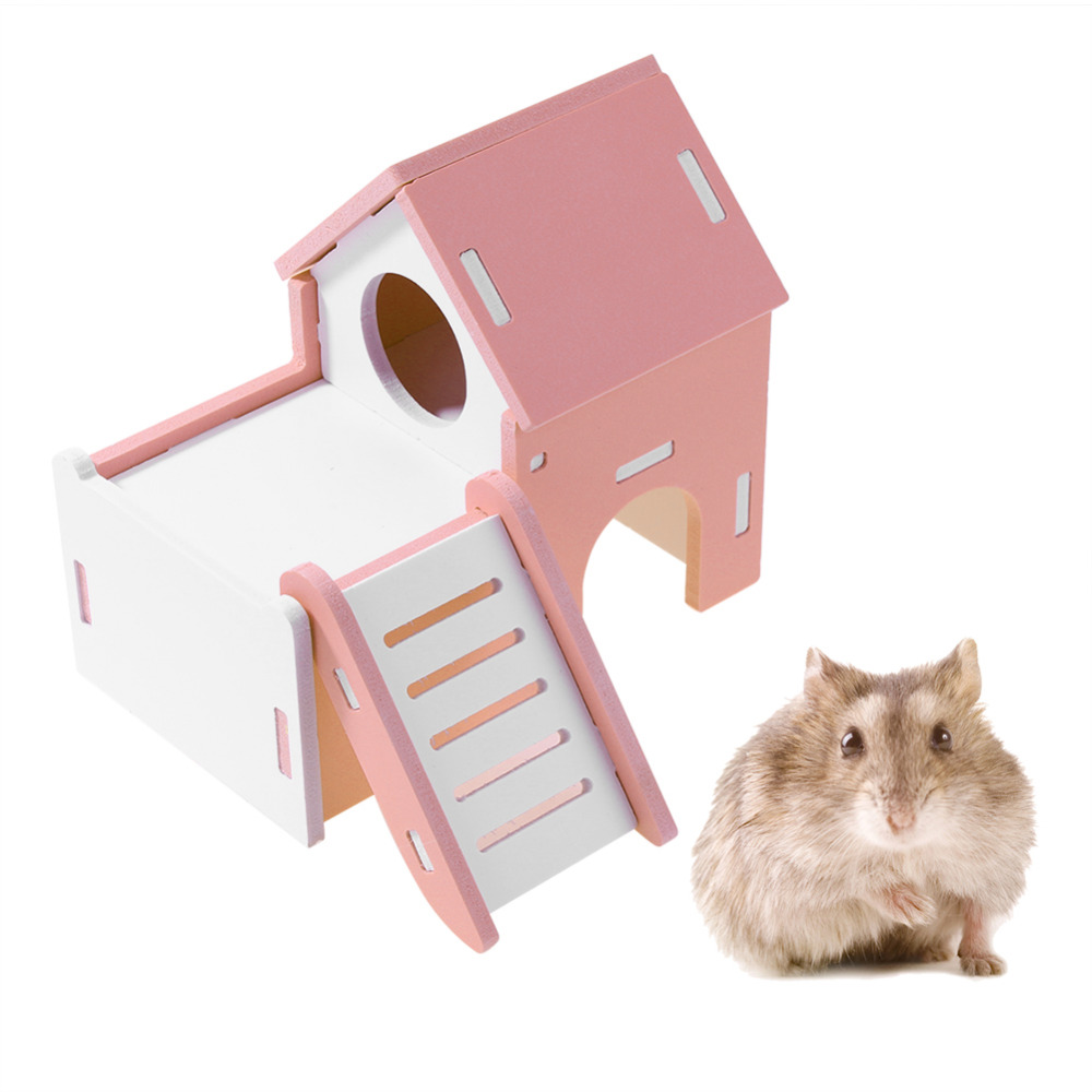Mini Small Animal Pet Hamster House Nest Rabbit Hedgehog Pet Sleeping Log Cabin Animal Sleeping House Supplies Toys Gift
