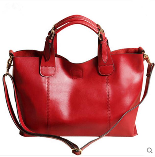 2016 Genuine Leather Women Messenger Bag tote shoulder Bags for ladies high quality Vintage Handbag Crossbody Bags for Women