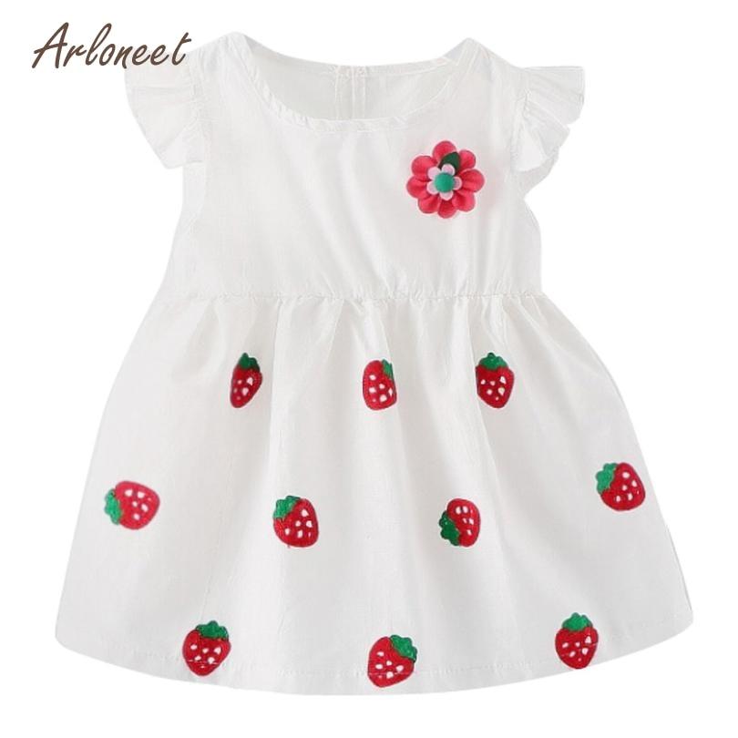 ARLONEET Baby Girl Dress Kids Baby Girls Sleeveless Strawberry Clothes Party Princess Dresses Dropshipping 2018 Mar29