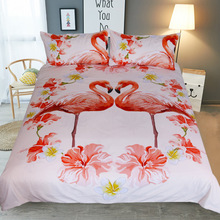 JaneYU Flamingo Flower Bed Products Four Sets Bedding Twin Full Queen King