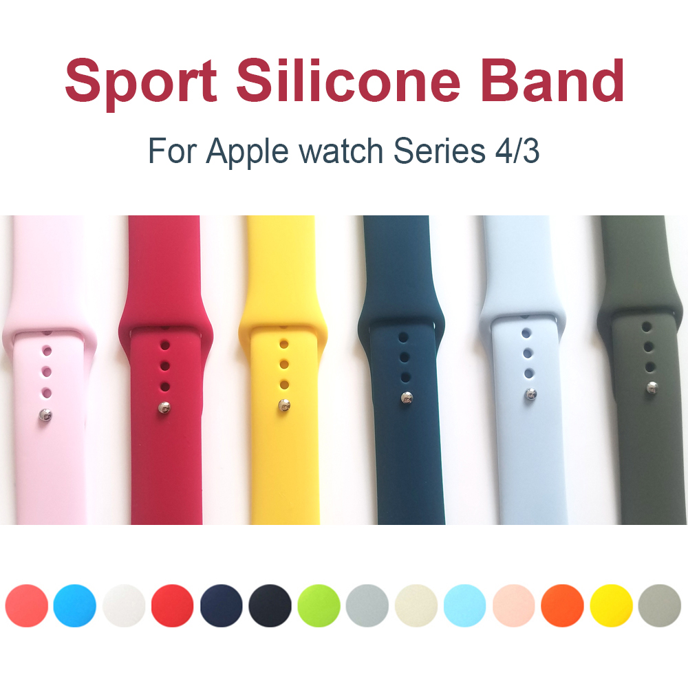 Sport Silicone Band For Apple Watch Series 4 5 44mm 40mm Replaceable Bracelet Strap For IWatch 3 / 2 42mm 38mm Nike+ Watchband