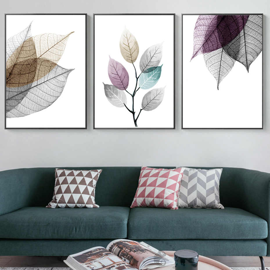 Scandinavian Abstract Transparent Leaves Canvas Paintings Leaf Poster Print Wall Art Pictures for Living Room Kitchen Home Decor
