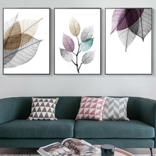 Scandinavian Abstract Transparent Leaves Canvas Paintings Leaf Poster Print Wall Art Pictures for Living Room Kitchen Home Decor(China)