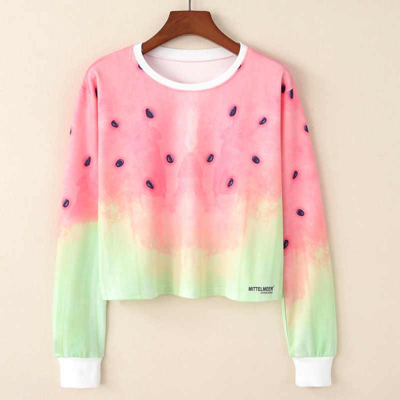 2018 Autunm Hoodeis Bts Harajuku Watermelon Print Women's Sweatshirts Fashion Long Sleeved Watermelon Stamp Cute Female Hoodies