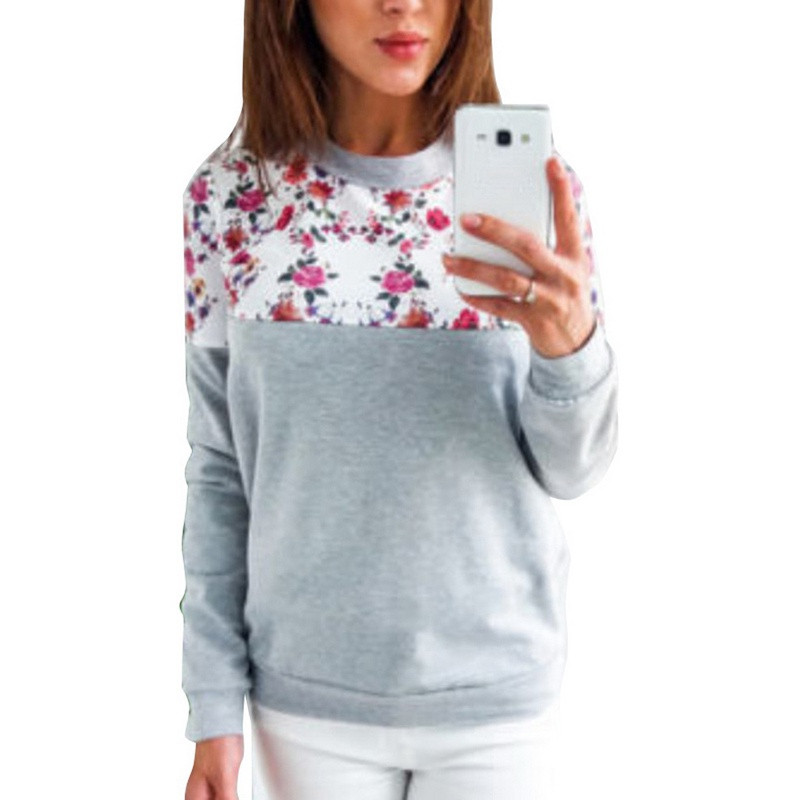 4 Color 5 Size O-neck Basic Top Sudaderas Para Mujer Hoodie Women 2018 Floral Print Hoodies Long Sleeve Pullovers Women