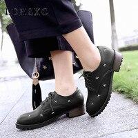 LDHZXC 2019 fashion spring autumn women pumps shoes woman round toe lace up shoes square high heel women shoes big size 11 12