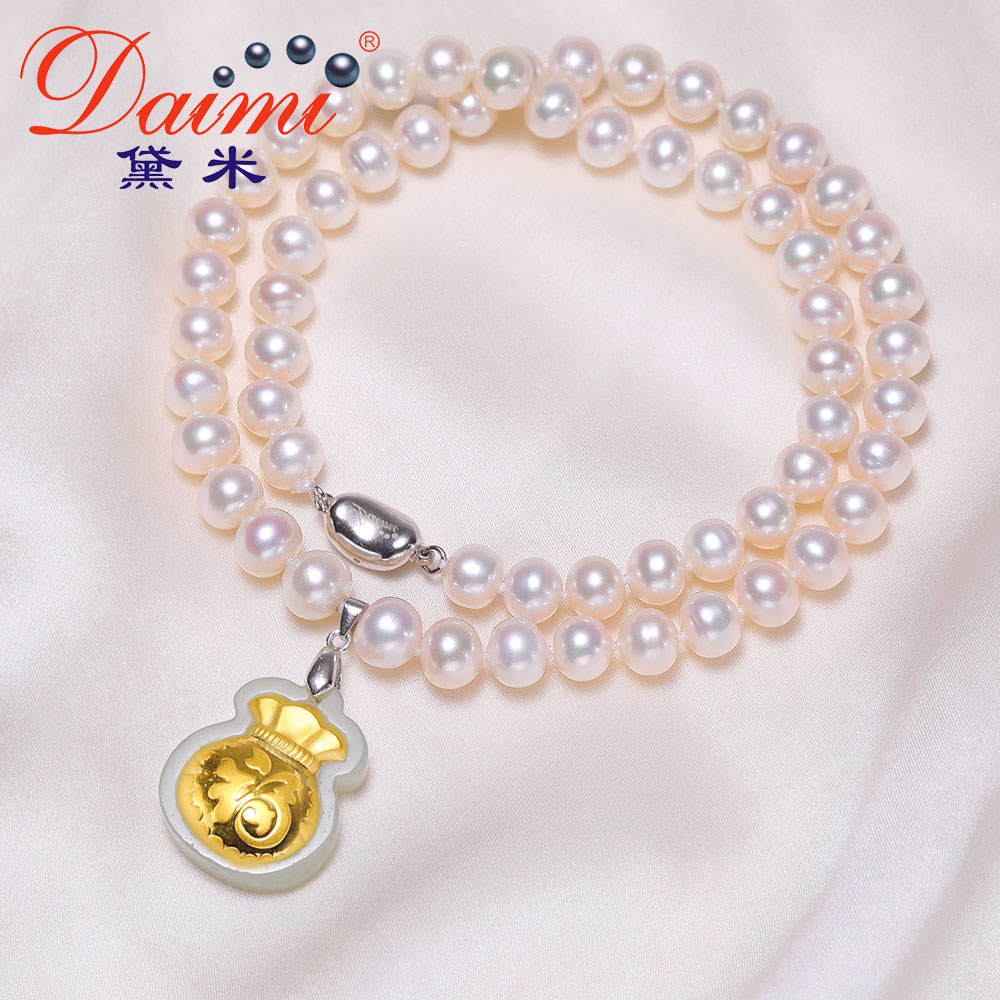 AIMI 8-9mm Pure Gold Hetian Golden Inlaid Jade Necklace 925 Silver Necklace Best Gift for Mom fashionable foot style gold plated crystal inlaid necklace golden