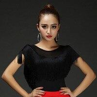 Tassel Gauze Latin Dance Tops for Women Girls O Neck Red Black wears Ladies Salsa Yoga Fitness Ballroom Costume