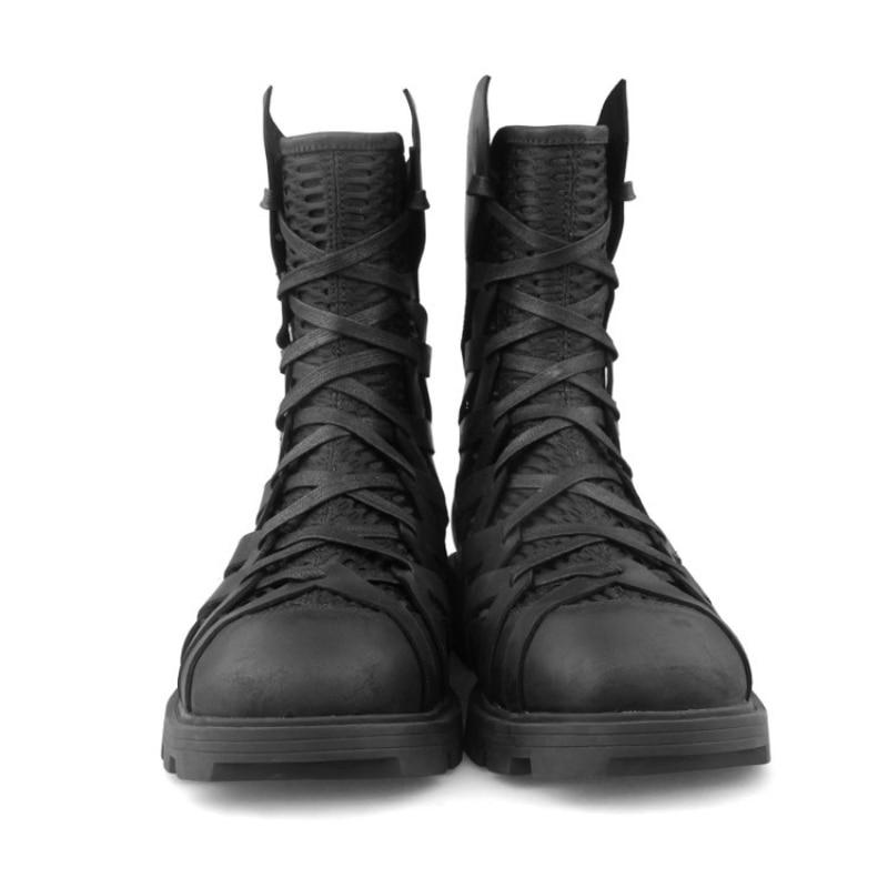 Hoge Top Punk Schoenen Mannen Enkel Luxe Trainers Echt Leer Mesh Patchwork Terug Zip Motorlaarzen Casual Hip Hop sneakers - 4