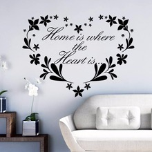 Home Decor Removable Flower Quote Mural Is Where The Heart Wall Decal Love Shape Wallpaper AY530