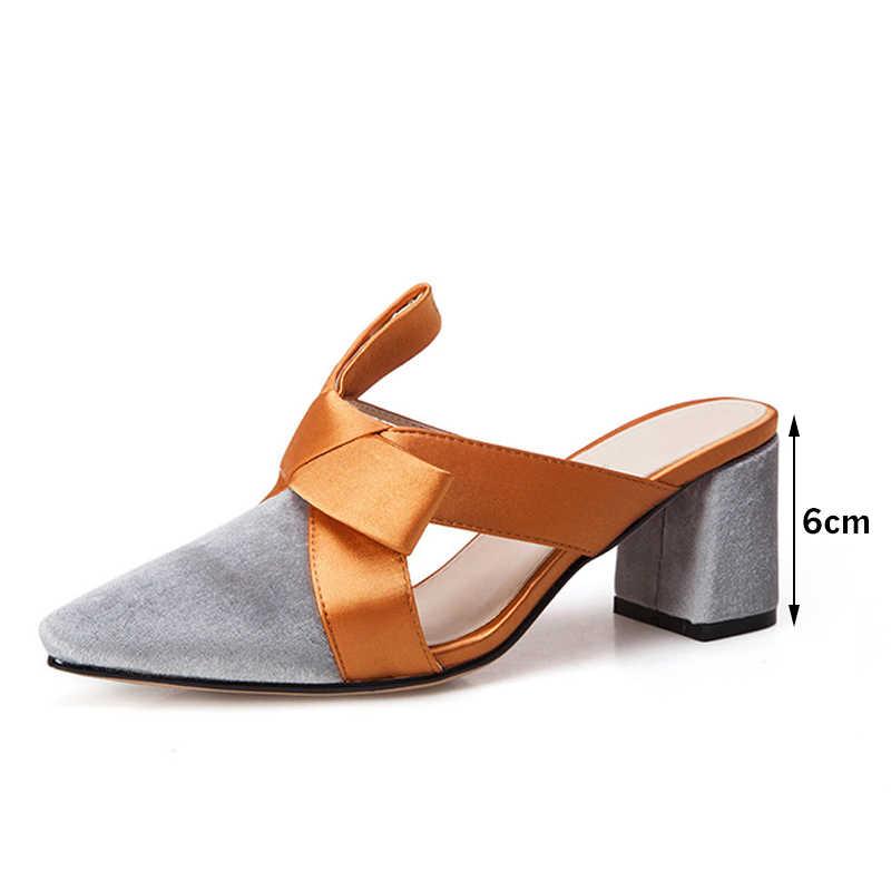 Di nuovo Disegno Donna Pantofole Scarpe A Punta Bowtie Presentazioni aziende produttrici giochi Sandali Femminili Tacco Basso Pantofole Signore Elegante Al di Fuori Calzature