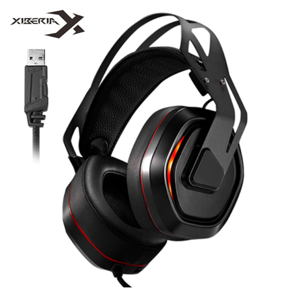 Xiberia S18 PC Headset USB 7.1 Surround Sound Gaming Headphones Stereo Bass Casque with Microphone Led Light for Computer Laptop-in Headphone/Headset from Consumer Electronics    1