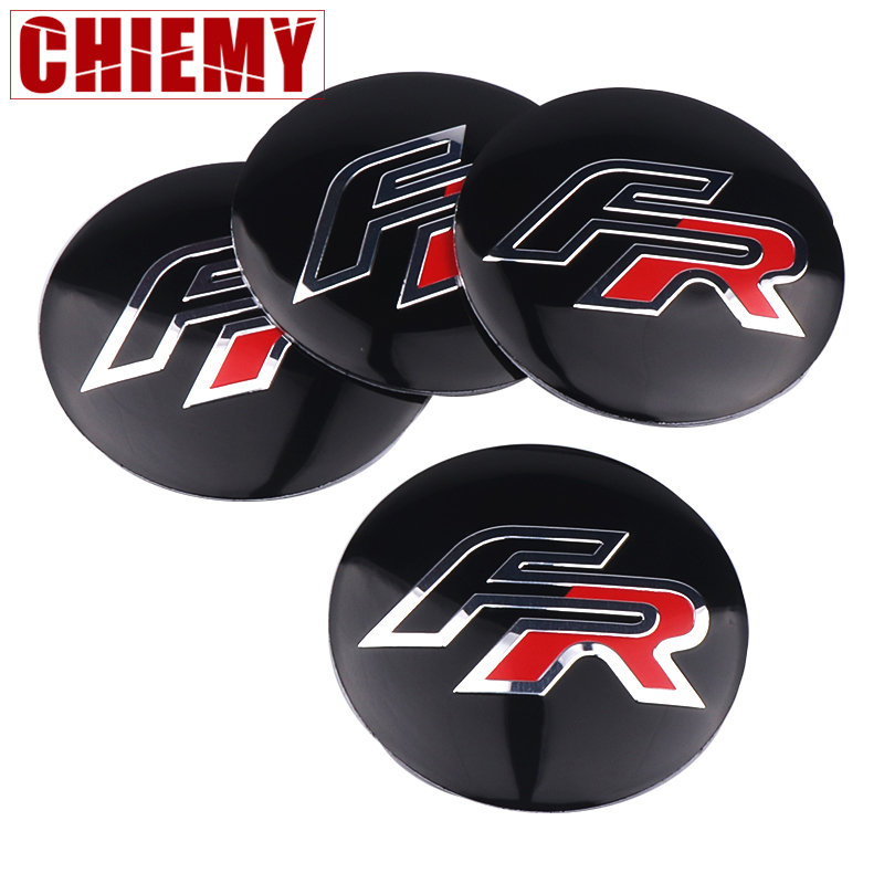 4PCS 56.5M Aluminium FR Logo Car Wheel Hub Center Cap Sticker For Seat Leon FR+ Cupra Ibiza Altea Exeo Formula Styling Accessory