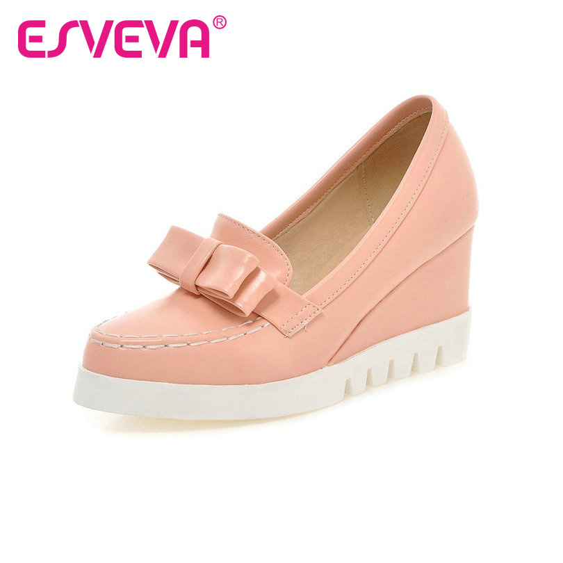 ESVEVA New Bow Tie Slip On Wedges High Heels Women Pumps Round Toe Pu Platform Autumn/Spring Lady Party Shoes Size 34-43 Pink fringe wedges thick heels bow knot casual shoes new arrival round toe fashion high heels boots 20170119