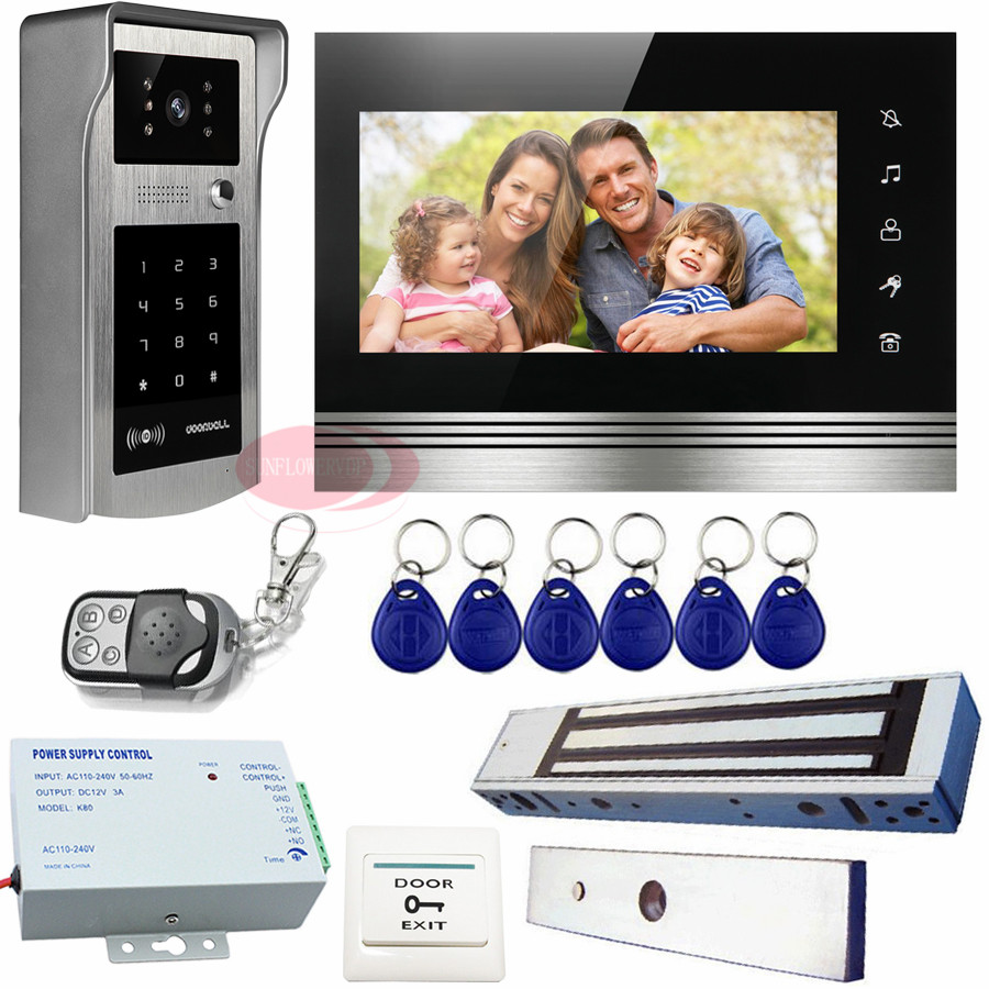 Video Intercom With Magnetic Door Lock Color Intercom Rfid /Code Unlock/Touch Buttons intercoms for homes Ip55 Waterproof