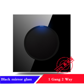 EU France German UK Socket 86 type 1 2 3 4 gang 1 2way household black mirror Tempered glass wall switch panel LED light switch 17