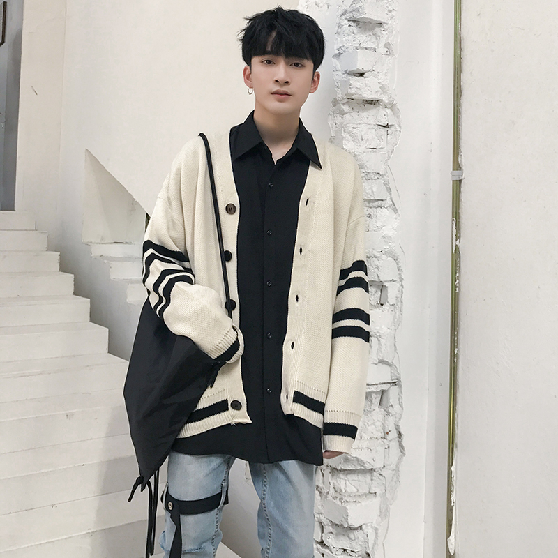 New Arrival 2018 Autumn All-match Cotton Striped Long Sleeve Loose Men Cardigan Popular Knitted Contrast Color Warm Male Sweater