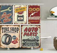 Memory Home Vintage Car Metal Signs Automobile Advertising Garage Polyester Fabric Bathroom Shower Curtain With Hooks
