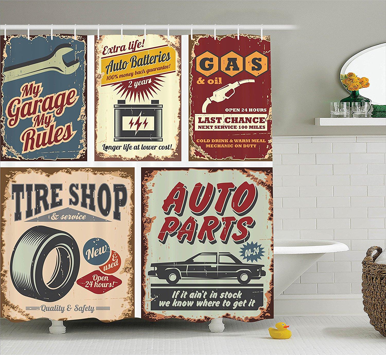 Speicher Hause Vintage Car Blechschilder Automobil Werbung Garage Polyester-gewebe Badezimmer Duschvorhang mit Haken
