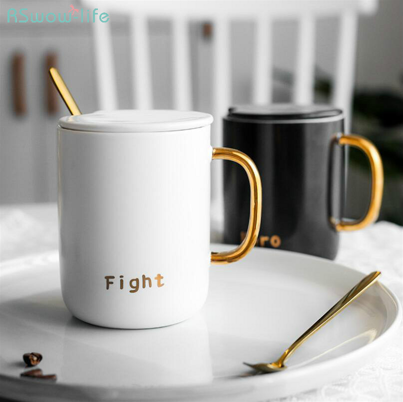 Ceramic Simple Coffee Cup With Lid Spoon 400ML Capacity Breakfast Milk Cup Cute Cup Mugs For Kitchen Bar Drinkware