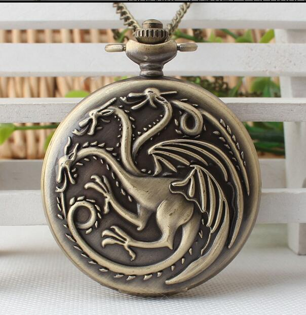 Steampunk Game Of Thrones House Targaryen Quartz Pocket Watch Awesome Dragon Fire And Blood Man Women Necklace Pendant Clock Gif