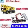Technic серия строительные блоки грузовик 20005 20004 кран блоки совместимы с Legoing 42043 42009 мальчик игрушки подарок с мотором питания