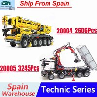 With Motor Power Truck 20005 20004 Crane block Compatible with Legoing 42043 42009 Technic Series Building Block Boys Toy Gift
